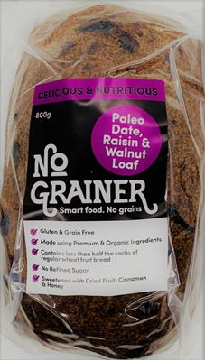 Picture of NO GRAINER PALEO DATE, RAISIN & WALNUT LOAF 825GM